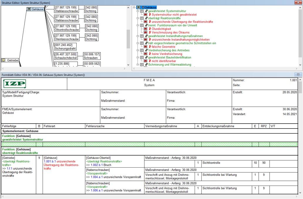 Formblatt FMEA FMECA APIS IQ FMEA Software Beispiel Moderation Dienstleistung Erstellung Outsourcing Risiko Fehleranalyse System Komponente Bauteil Prozess